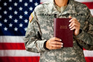 Soldier: Holding a Bible
